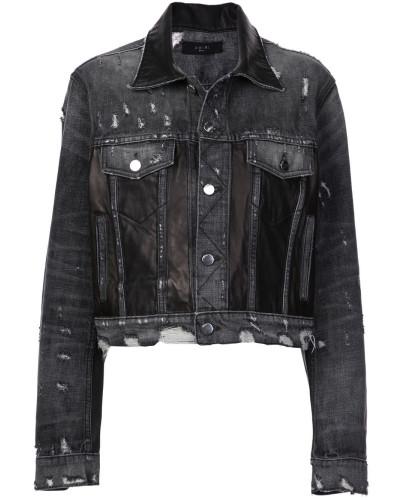 Distressed-Jeansjacke mit Ledereinsätzen