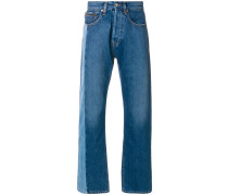 straight leg jeans with contrasting panel
