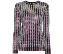 Crystal embroidered ribbed knit top