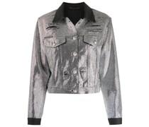 Jeansjacke mit Kristallverzierung