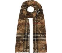 Karierter Schal mit Camouflage-Print