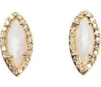 18kt Gelbgoldohrstecker mit weißem Opal und Diamanten