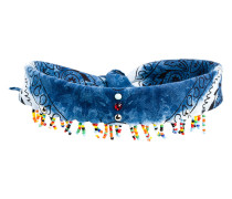 Jeans-Choker mit Glasperlen