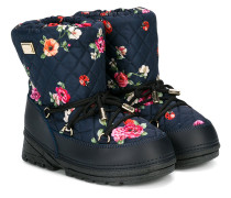 quilted floral lace-up boots