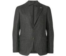 textured two button blazer