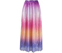 colour-block print pleated skirt