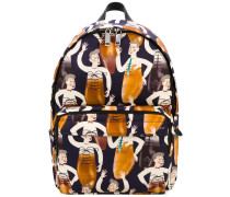 printed backpack - men - Leder/Nylon