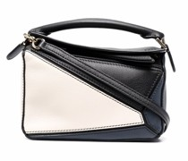 two-tone zip-up satchel bag