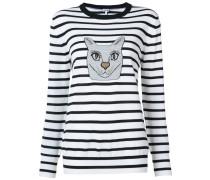 Gestreifter Pullover mit Katzen-Print - women