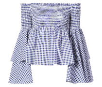 gingham frill sleeves off the shoulder top