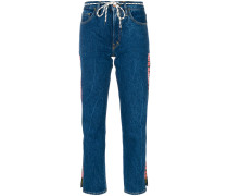 logo strip cropped jeans