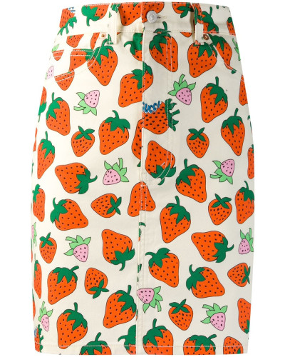 Jeansrock mit Erdbeere-Print