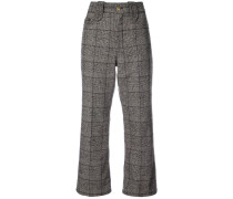 Creased cropped plaid pants