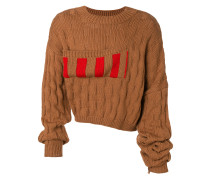 striped basket weave jumper with elongated sleeves