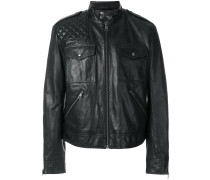 high collar leather jacket