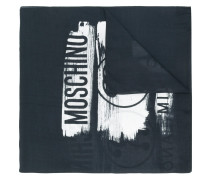 distressed logo woven scarf