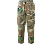 camouflage print belted trousers