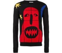Intarsien-Pullover mit Monster