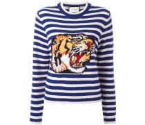 Gestreifter Intarsien-Pullover mit Tigermotiv