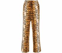Weite Hose mit Tiger-Print