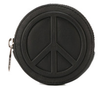 peace embossed zipped circular wallet