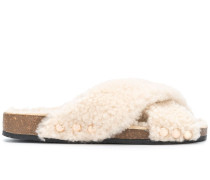 Shearling-Sandalen