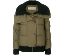ribbed trim puffer jacket