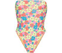 Bandeau-Badeanzug mit Blumen-Print