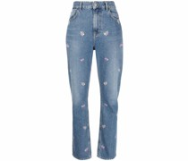Gerade Jeans mit Blumenstickerei