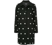 bow embellished single breasted coat