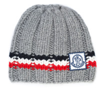 logo striped beanie hat