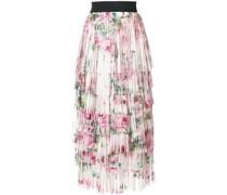 tiered fringed rose print midi skirt