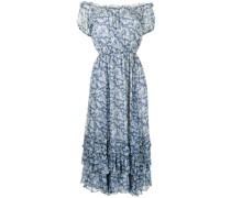 Schulterfreies Kleid mit Blumen-Print