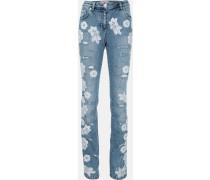 Jeans mit Spitzenapplikationen