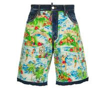 Hawaii print denim shorts