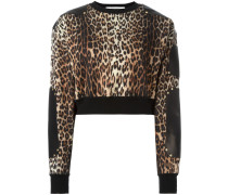 Cropped-Pullover mit Leoparden-Print