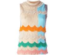 scalloped fringe knitted blouse