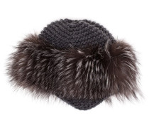 Cashmere and Fox Fur Fitted Hat