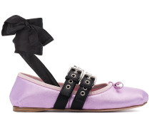 Metallic leather lace up ballet flats
