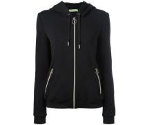 embossed logos zip up hoodie