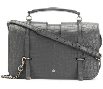large crocodile embossed Charlotte messenger satchel