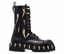horn-charm chunky leather boots
