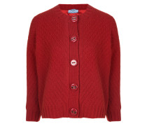cropped chevron knit cardigan