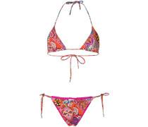 mixed print bikini set