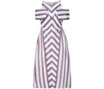 striped flared midi dress