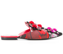 printed embellished slippers