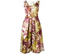 Mittellanges Kleid mit Blatt-Print