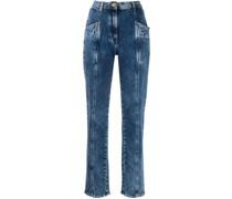 Tapered-Jeans mit Einsätzen