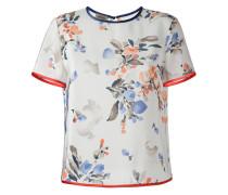 Seiden-T-Shirt mit Blumen-Print - women