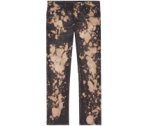 Bleached denim tapered pant